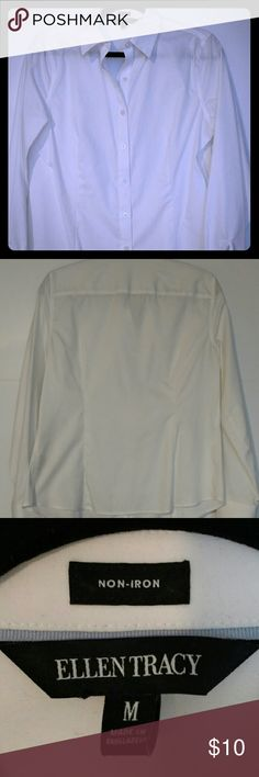 Ellen Tracy Long Sleeve Button Up Ellen Tracy long sleeve white button-up shirt. 100% cotton, non-iron, untucked style. Ellen Tracy Tops Button Down Shirts