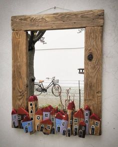 icu ~ Instead of using ordinary moulding around windows . use old wood to \ ~ Instead of using ordinary moulding around windows . use old wood to \ Wood Projects, Projects To Try, Art Pierre, Driftwood Crafts, Driftwood Mirror, Stone Crafts, Old Wood, Pebble Art, Stone Art