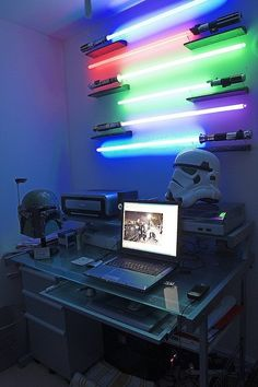 Star Wars-themed office with glowing lightsabers for illumination