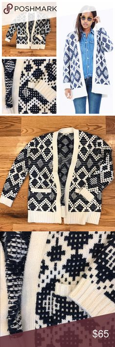 Madewell Contrast Fair Isle Cardigan Cozy navy and white pattern knitted cardigan sweater by Madewell. Size small in excellent condition! Feel free to ask any questions below or make me an offer! Retailed for $138 and sold out! Madewell Sweaters Cardigans