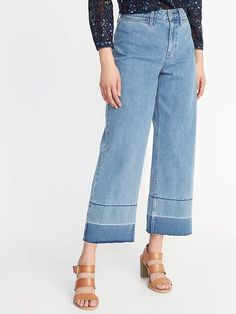 STYLECASTER   Wide Leg Pants   Old Navy high-rise wide-leg raw-edge jeans for women