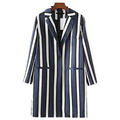 Chicnova Fashion Midi Blazer in Vertical Stripe (€26) ❤ liked on Polyvore featuring outerwear, jackets, blazers, tops, striped blazer, stripe jacket, striped jacket, stripe blazer and blazer jacket