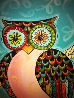 Owls are still one of my most popular subjects. This one is similar to one of my other paintings but much bigger! She is all acrylic and very colorful :)