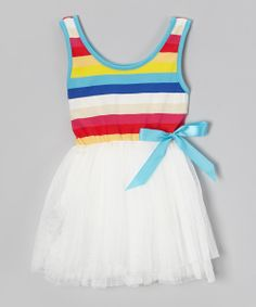 White Rainbow Stripe Tutu Dress - Toddler & Girls | Daily deals for moms, babies and kids