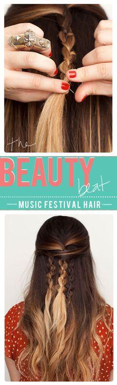 Music Festival hair idea xo So glad I'm growing my hair out! Pretty Hairstyles, Braided Hairstyles, Hair Dos, Your Hair, Music Festival Hair, Music Festivals, Coiffure Hair, Braid Hair, Fishtail Braids