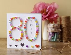 Handmade 3D '80' Card - 80th Birthday, Eighty, Eightieth, Personalised 80th Card, Sister, Mother, Father, Mum, Dad, CardsbyGaynor Name BHA80