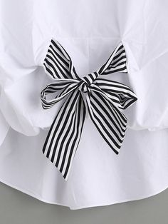 Shop White Striped Tie Front Puff Sleeve Blouse online. SheIn offers White Striped Tie Front Puff Sleeve Blouse & more to fit your fashionable needs.