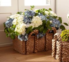 Love Your Home: My Inspiration--love these baskets and hydrangeas