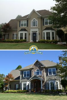 The original stucco on this home was replaced with stone and siding - both shake and board-and-batten styles. The wide portico and double mahogany doors give visitors a gracious welcome. | Atlanta Exterior Remodelers | EXOVATIONS