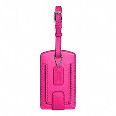 pink coach luggage tag