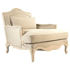 Bree French Country Ornate Beige Ivory Arm Chair