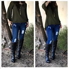 Chic skinny  distress jeans SALE LIMITED SIZES New just in great fitting distress skinny jeans with stretch PLEASE Use the Poshmark new option you can purchase and it will give you the option to pick the size you want ( all sizes are available) BUNDLE and save 10% ( no trades price is firm unless bundled) Jeans Skinny