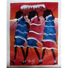 Tingatinga Art Walking in Line Oil on Canvas Artist Mr Haji Art, hand painted in Arusha, East Africa.