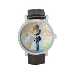 Wedding Day Whimsical Designer Art Vintage Watch Exquisitely gorgeous, you will find overwhelming appeal in our Stunning Wedding Dance Whimsical Designer Art Watch Collection. This unique and  magnificent collection features a stunning color palette inspired by the lush green gardens of the English Country-side. The perfect Wedding Gift! Designed by artist Marie-Jose Pappas of Innocent Originals. http://www.zazzle.com/innocentoriginals*