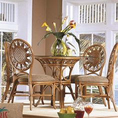 Shop for the Capris Furniture 321 Collection Glass Top Table With Four Side Chairs at Hudson's Furniture - Your Tampa, St Petersburg, Orlando, Ormond Beach & Sarasota Florida Furniture & Mattress Store Wicker Table And Chairs, Wicker Dining Set, Bentwood Chairs, Side Chairs, Dining Chairs, Dining Rooms, Dining Sets, Hudson Furniture, Beach Furniture