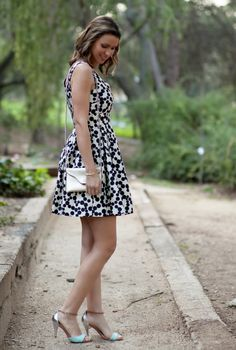 Black and white polka dot dress w/mint accessories. Instead wear flat sandals or black wedges for summer.