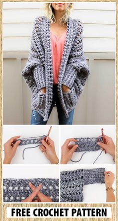 Crochet Sweater Design, Crochet Coat, Crochet Cardigan Pattern, Crochet Jacket, Chunky Crochet, Crochet Shawl, Diy Crochet, Crochet Clothes, Crochet Stitches