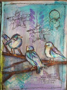 Patricia's Scrap en ARTsite: Art Journal met de Dina Wakley vogeltjes