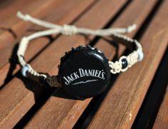 Black and Grey Jack Daniels Recycled Beer Cap Hemp Adjustable Bracelet - beach, surfer accessory, unique jewelry