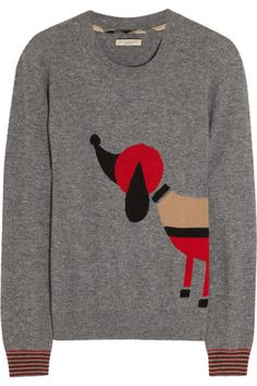 Burberry Britdog-intarsia wool and cashmere-blend sweater, $495