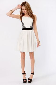 Bridal shower dress? Pretty Ivory Dress - White Dress - Lace Dress - $46.00