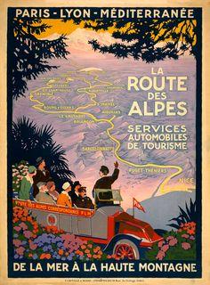 La Route Des Alpes. French travel poster shows tourists in a PLM tourbus. Circa 1920.