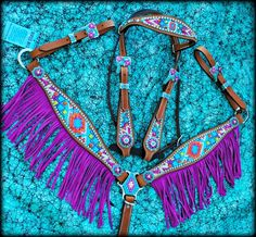 Chevron Aztec Purple Fringe Tack Set from Deuces Wild Custom Tack