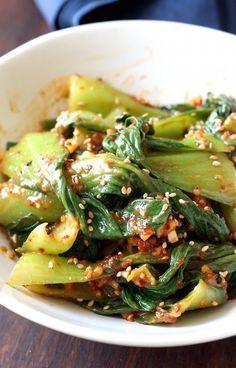 Bok Choy Muchim (Korean Bok Choy Salad) is part of Korean food - Easy Asian recipes Vegetable Dishes, Vegetable Recipes, Vegetarian Recipes, Cooking Recipes, Healthy Recipes, Vegetarian Korean Food, Diet Recipes, Bok Choy Salad, Korean Side Dishes