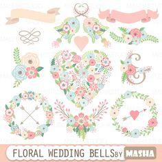 Clipart de boda floral: Campanas de boda FLORAL con por MashaStudio