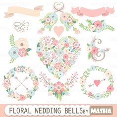 "Floral wedding clipart: ""FLORAL WEDDING BELLS"" with floral heart clipart, flower wreaths, ribbons, flower bouquets for wedding invitations"