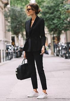 All black suiting with white sneakers . classic, chic fashion. edgy monochrome www.HerFashionedLife.com