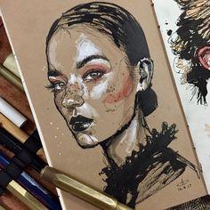 Fashion Ilustration Portrait Medium New Ideas Art Sketches, Art Drawings, Portrait Sketches, Arte Sketchbook, Guache, A Level Art, Illustration, Sketchbook Inspiration, Art Plastique