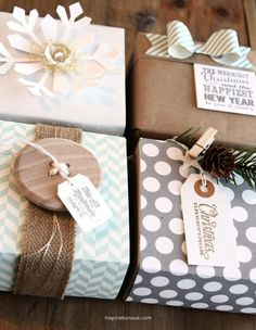 I love these wrapping ideas!  I'm a fan of the neutrals.