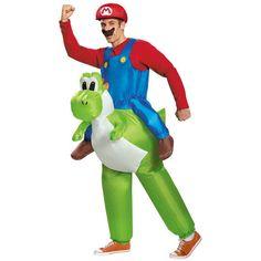 「スーパーマリオブラザーズ 仮装 マリオ&ヨッシー 衣装 帽子&ひげ コスプレ 【Mario Riding Yoshi Adult】 安倍マリオ スーマリ」の商品情報やレビューなど。
