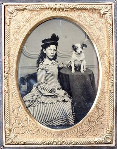 Tintype - charming girl in a striped dress, with her dog