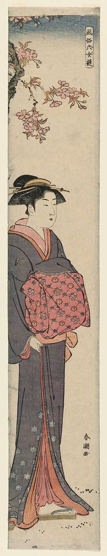 Shuncho Katsukawa / Junge Frau unter blühenden Baum