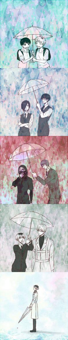 Umbrellas through the Years ||| Kaneki, Hide, Touka, Tsukiyama, Arima, and Sasaki ||| Tokyo Ghoul Fan Art