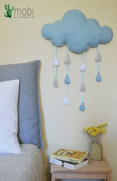 Large Handmade Hanging Raindrop Cloud  by MobiHandmadeShop on Etsy