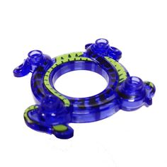 Lego Parts: Ring 4 x 4 with 2 x 2 Hole and 2 Intertwined Snakes with Lime Green Pattern (Ninjago Spinner Crown) (TransPurple)