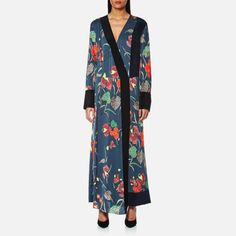 Diane von Furstenberg Women's Long Sleeve Cross Over Floor Length Dress - Ampere Indigo/Black/Alex Navy