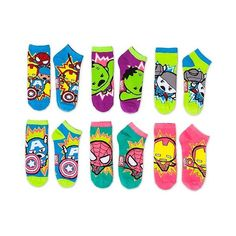 Marvel Women's Low-Cut Socks Kawaii Avengers 6-Pack ($8) ❤ liked on Polyvore featuring intimates, hosiery, socks, low cut socks and marvel socks