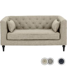 Flynn 2 Seater Sofa, Taupe Linen Mix from Made.com. Beige/Grey/Neutral. NEW A contemporary take on the classic Chesterfield design, with simplified ..