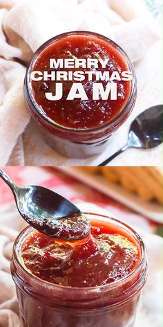 Merry Christmas Jam Recipe prepared at home without pectin. All natural jam recipe with real fruits. Mixed winter fruits with spices make this jam the most magical homemade Christmas gift. French jam recipe preparation will ensure that your jam will hold for months! easy jam recipe with video and step by step instructions, DIY homemade food gifts, family and friends, Christmas recipe, www.MasalaHerb.com #jam #christmas #DIY
