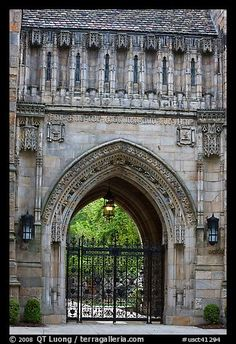 Gate in gothic style, Branford College. Yale University, New Haven, Connecticut, USA ~ >>> Samuel Yellin was a master craftsman known for designing works of art out of a single piece of iron, instead of tacking pieces together. Yale has ten hand-forged gates by Yellin—as well as numerous examples of decorative ironwork.