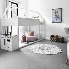 The Kura Ikea bed is a reversible bed that takes double the space in small children& rooms or storage problems. Kura Bed Hack, Ikea Kura Hack, Ikea Hacks, Ikea Hack Kids, Big Girl Rooms, Boy Room, Kura Cama Ikea, Deco Kids, House Beds