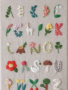 Crochet Patterns Needles Beautiful embroidery alphabet with flowers, llama, swan and many beautiful books …If you are seeking some wonderful cross stitch fonts ideas, this is the web page you should learn how you can make your own saucy sewed expre Simple Embroidery Designs, Embroidery Stitches Tutorial, Embroidery Flowers Pattern, Embroidery Ideas, Embroidery Techniques, Knitting Stitches, Japanese Embroidery, Hand Embroidery Design Patterns, Brazilian Embroidery Stitches
