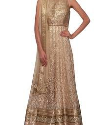 Buy Beige embroidered net semi stitched salwar with dupatta anarkali-salwar-kameez online