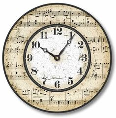 Item C2005 Vintage Style Music Notes Clock