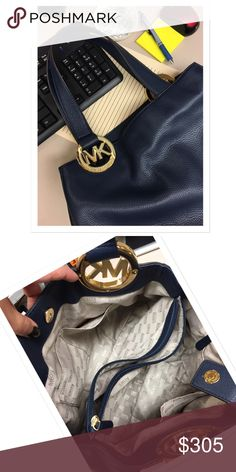 AUTHENTIC MK FULTON HOBO NWOT 🌟 Sophisticated 🌟 gorgeous soft leather 🌟 navy blue with gold hardware 🌟 dual blue leather handles with gold tone MK logo medallion rings 🌟 top magnetic closure 🌟 four protective metal feet 🌟 beige interior with MK signature fabric 🌟 center divider with zipper pocket 🌟 four multi purpose slip pockets 🌟 absolutely gorgeous 🌟 no flaws 🌟 never used 🌟 pet/smoke free home Michael Kors Bags Hobos