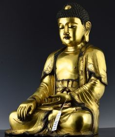 CHINESE GOLD GILT BRONZE TEMPLE BUDDHA FIGURE MING Buddha Figures, Buddhism, Temple, Chinese, Carving, Bronze, Statue, Antiques, Gold